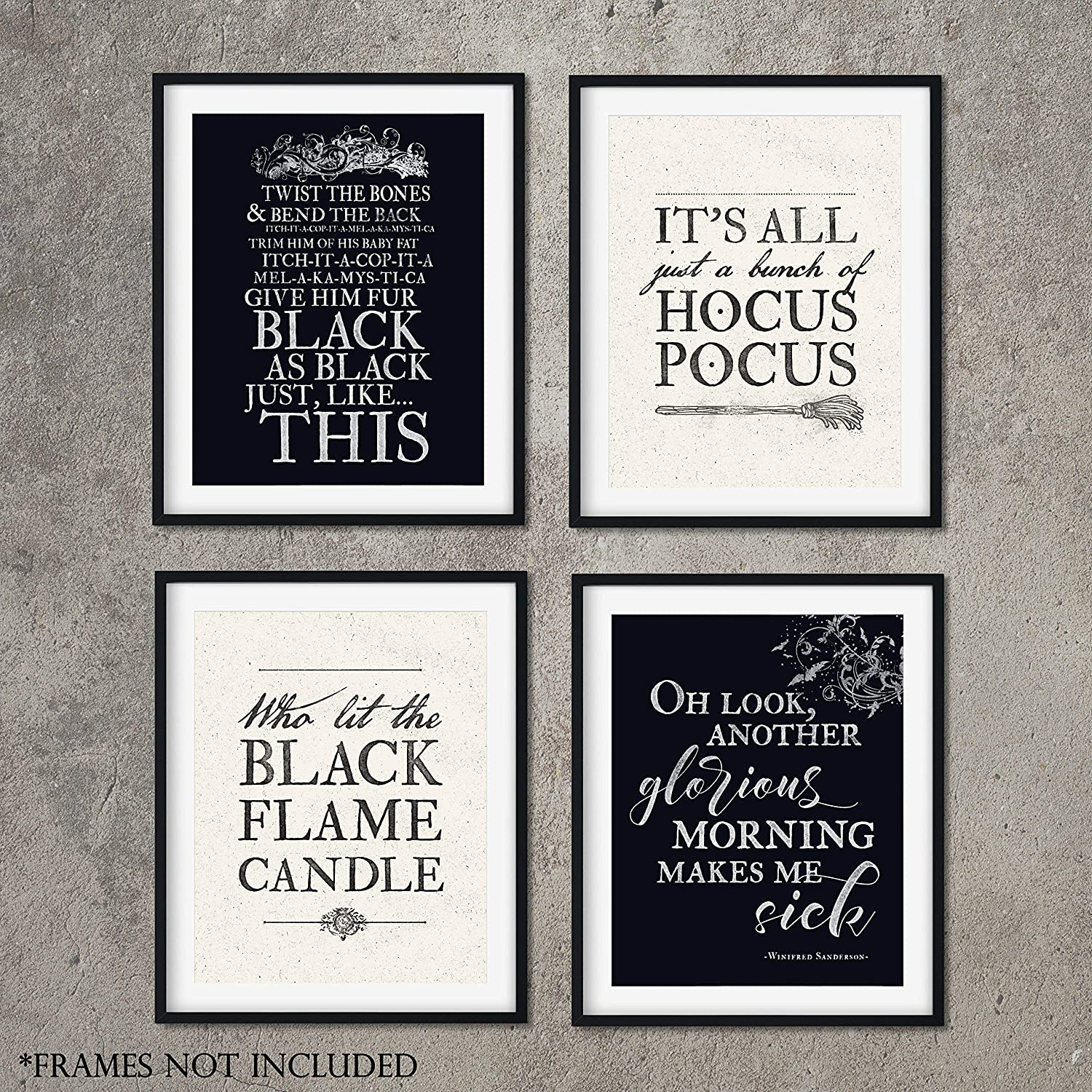 Hocus Pocus Halloween Art Prints - Set of FOUR (8x10) Prints Unframed - Perfect Halloween Decorations