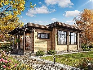 ECOHOUSEMART | Laminated Log House Kit | Eco friendly | Prefab DIY Building Cabin Home | GLT Engineered Wood Glulam | Gross Area: 1290 Sq Ft