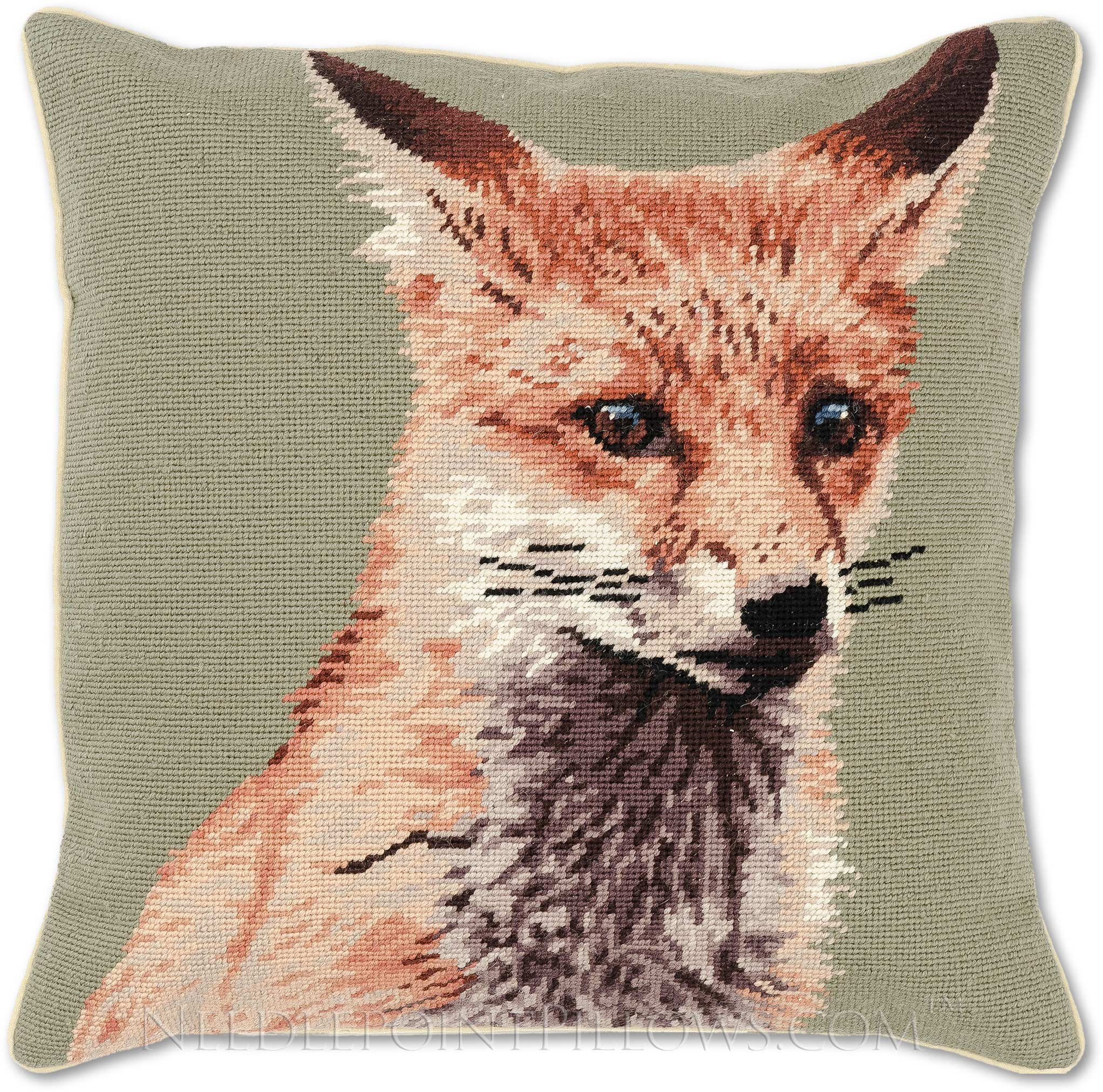 Handmade 100% Wool Needlepoint Decorative Animal Wildlife Red Fox Throw Pillow. 18'' x 18''. by NeedlepointPillows.com