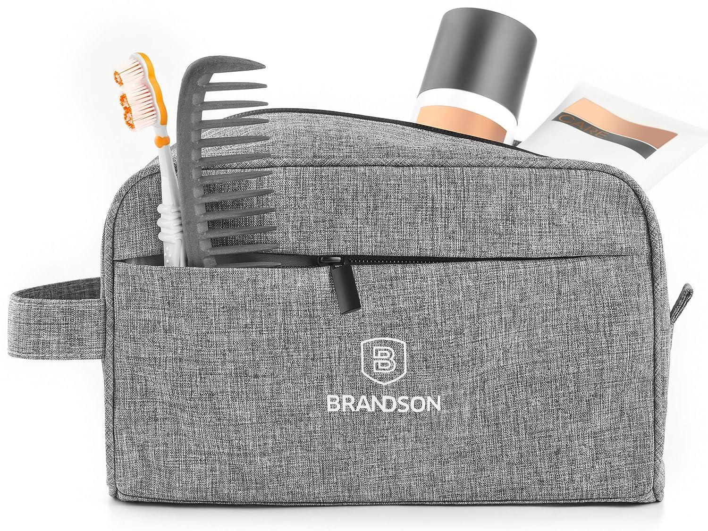 Brandson Kulturtasche mit Wasserdichtem Reißverschluss, Kulturbeutel, Kosmetiktasche, Reise-Necessaire, 25x16x11cm Grau BS-KT-02