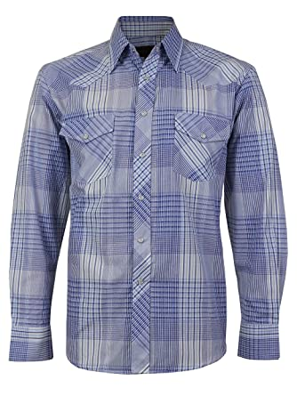 fa315ad1 LW Men's Western Cowboy Pearl Snap Long Sleeve Cotton Rodeo Dress Shirt  (Medium, 4) at Amazon Men's Clothing store: