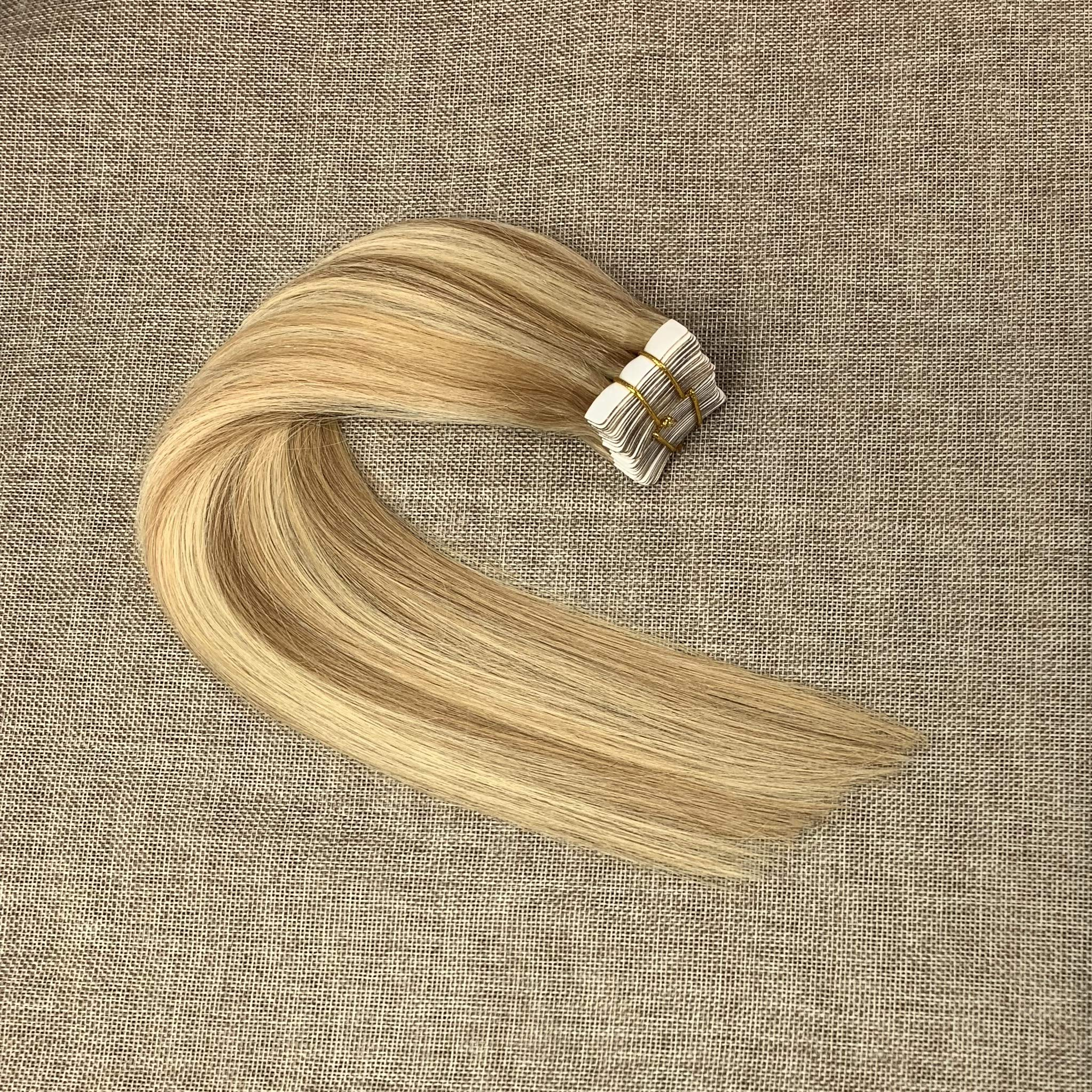 Komorebi #27/613 Honey Blonde And Bleach Blonde-20Inch Skin Weft Professional Hair Extensions Ombre Tape in Extensions Two-Town Colors 20Pcs 40 Gram Remy Hair Tape in Extensions