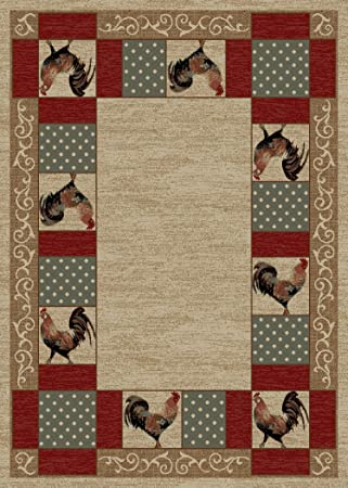Amazon Com Rug Empire Rustic Lodge Rooster Area Rug Beige 26 W X