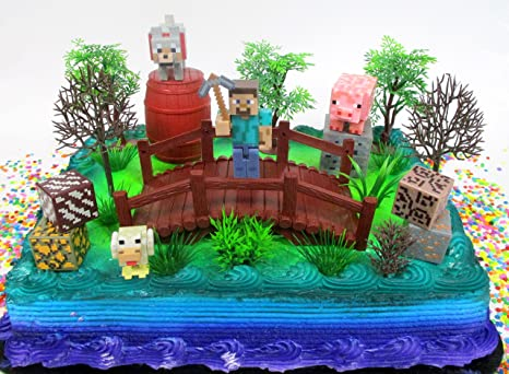 Minecraft 14 Piece Birthday Cake Topper Set Featuring Random Figures And Decorative Themed Accessories