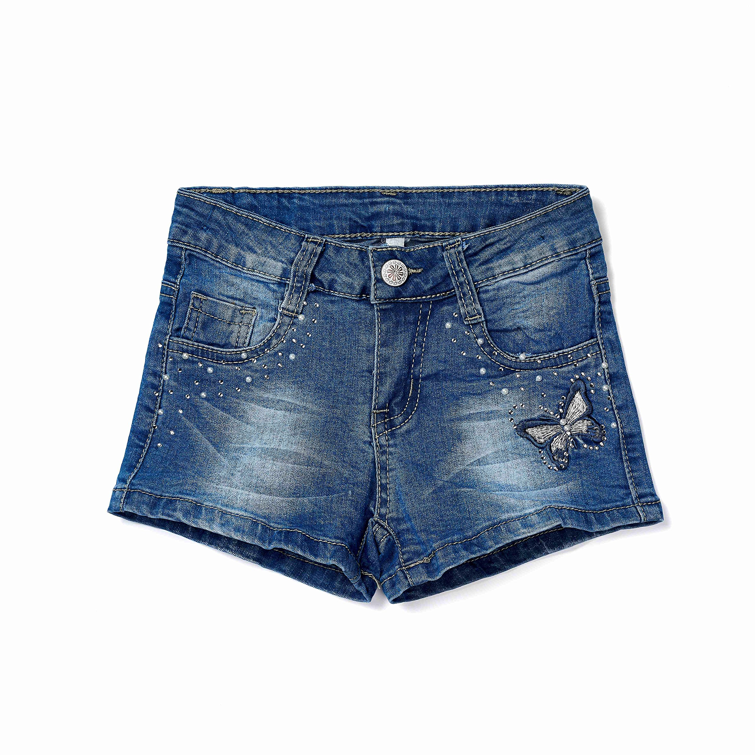 ISPED Girls Jean Shorts for Teen Girls Ripped Girls Shorts Summer Floral Embroided Denim Jean Shorts Size 10Y