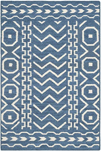 Safavieh Dhurries Collection DHU572A Hand Woven Dark Blue and Ivory Premium Wool Area Rug 2 6 x 4