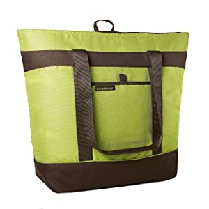 Rachael Ray Jumbo ChillOut Thermal Tote, XL Insulated Bag for Grocery Shopping /Entertaining, Transport Hot and Cold Food, Green