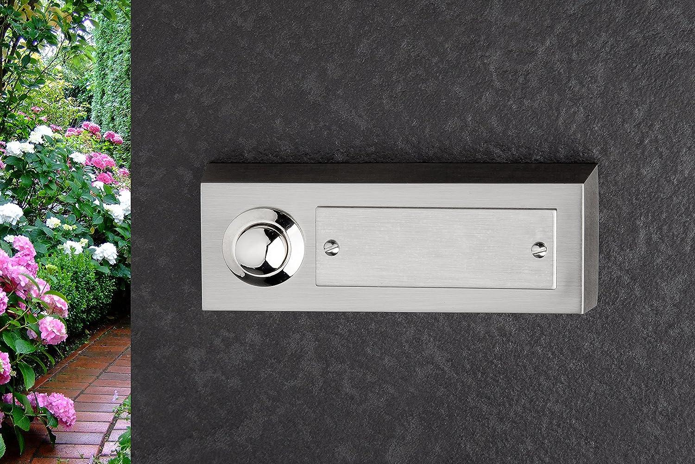 1 cajet/ín de pared 42.00 voltsV Pulsador de timbre HUBER rectangular de policarbonato con portanombre metal aut/éntico