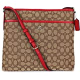 Coach Outline Signature File Bag Crossbody Khaki/Classic Red