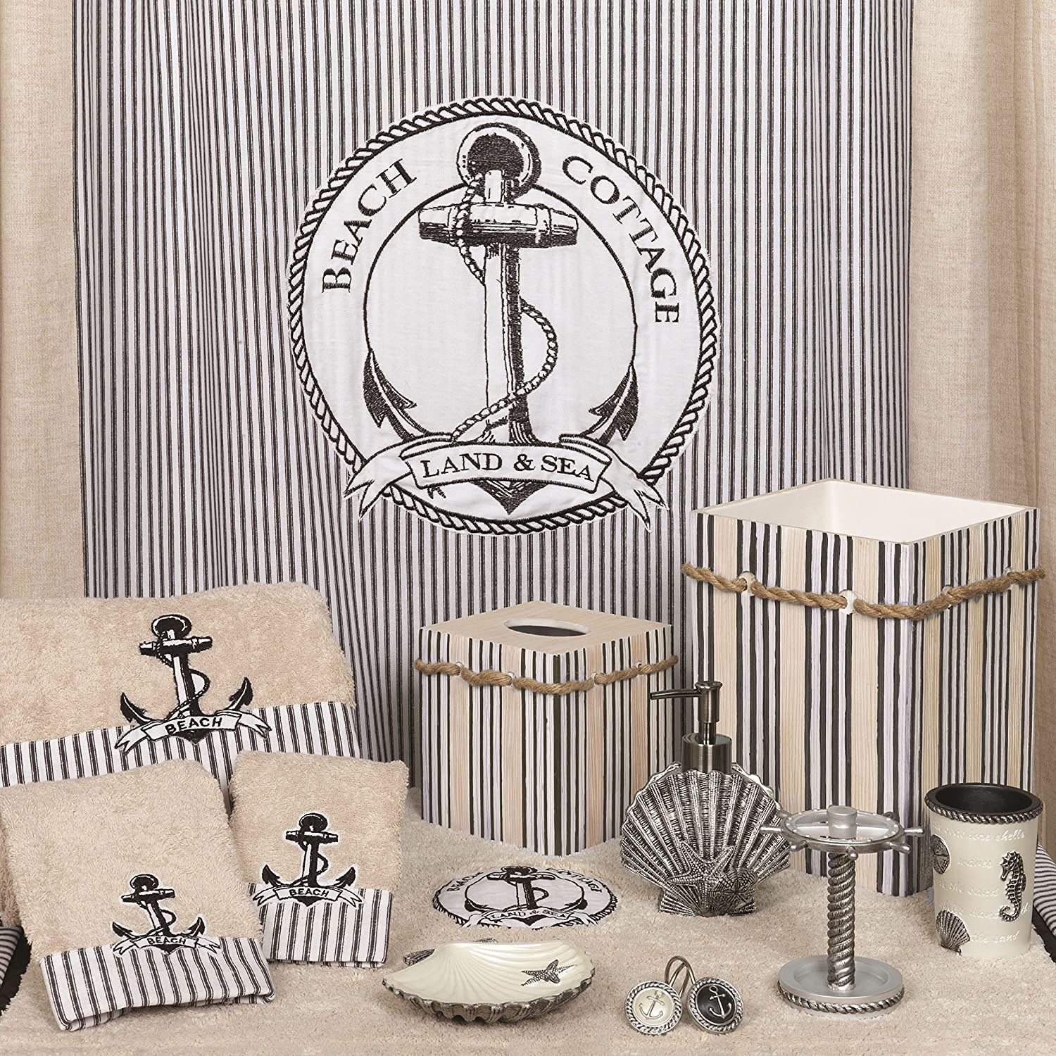 India Ink Beach Cottage Shower Curtain Hooks Nautical Zenith Products Corporation 123984350Z Zenna Home