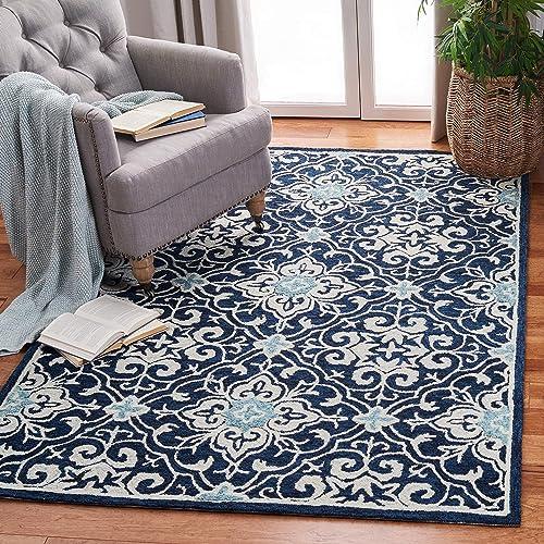 Safavieh Roslyn Collection ROS603N Handmade Floral Wool Area Rug