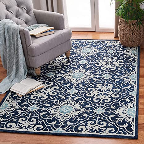Safavieh Roslyn Collection Ros603n Handmade Floral Wool Area Rug 8 X 10 Navy Light Blue Furniture Decor