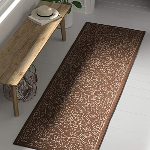 Stone Beam Contemporary Floral Medallion Wool Rug, 2 6 x 8 , Taupe on Brown