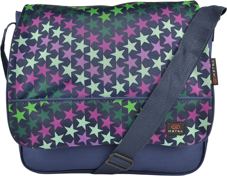 Metro Mens Lightweight Stars Design Canvas Messenger Bag Cross Body Shoulder