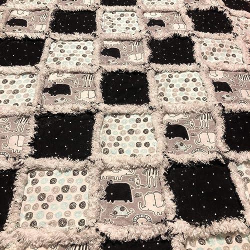 Amazon com: Grey black mint baby toddler rag quilt with rhino