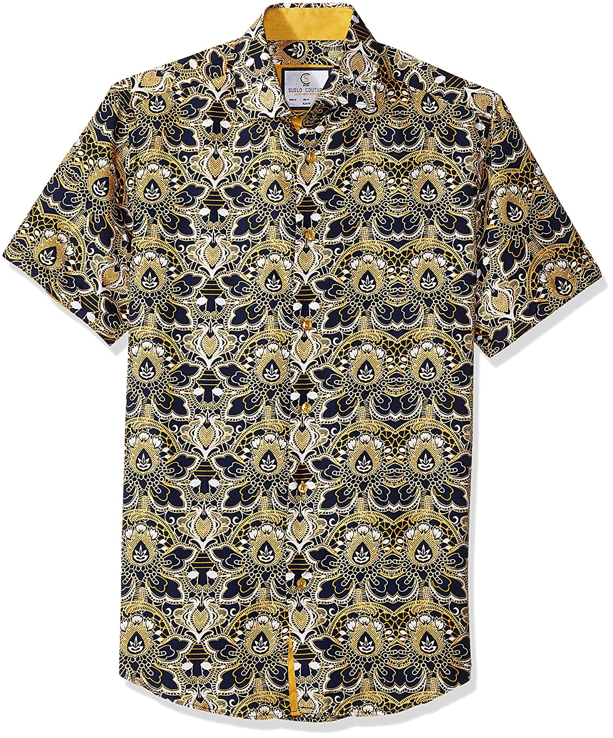 Azaro Uomo Mens Short Sleeve Button Down Shirt Casual Dress Loud Slim Fit