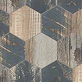 "SomerTile FCD10GCX Gaugin Catan Matisse Hex Porcelain Floor and Wall Tile, 8.5"" x 9.75"", Captain Shadow, 25 Piece"