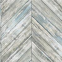 Roommates Herringbone Blue & Tan Wood Boards Peel and Stick Wallpaper | Removable Wallpaper | Self Adhesive Wallpaper