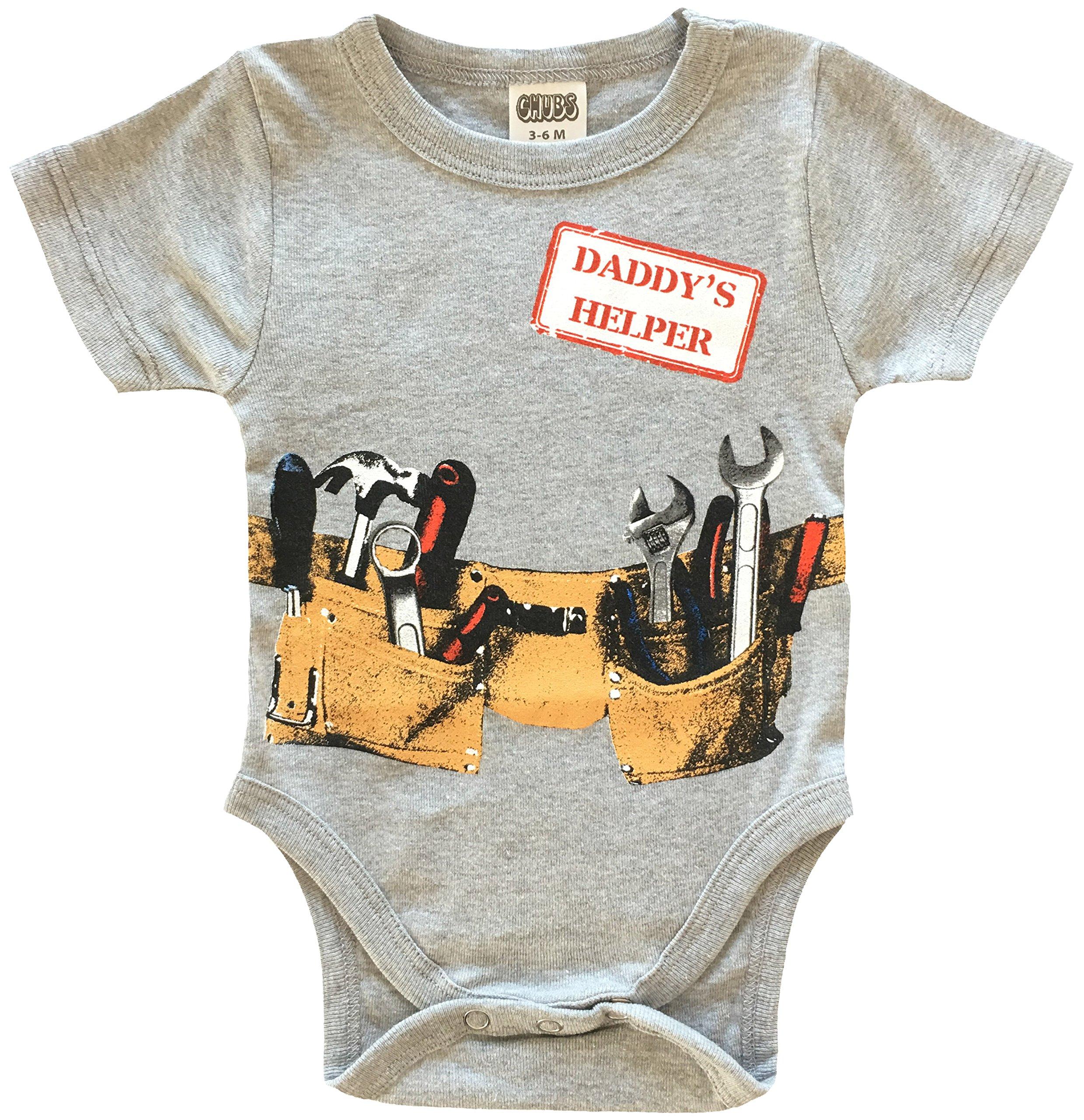 Daddys Little Helper Cute Boy Baby Clothes, Funny Baby Bodysuit (3-6M)
