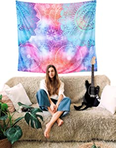 Pink and Blue Mandala Tapestry - Colorful Room Decor for Teen Girls - Cool Chakra Wall Hanging Tapestry - Hippie Bohemian Tapestry - Trippy Boho Wall and Ceiling Tapestry for Bedroom or College Dorm