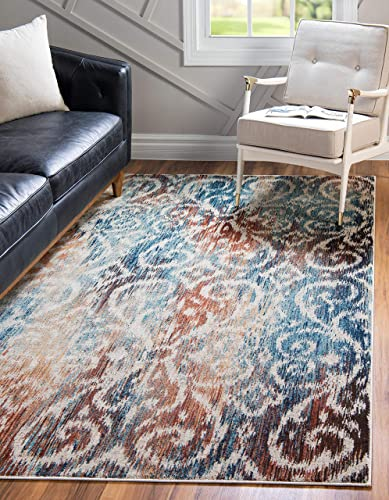 Unique Loom Mystic Collection Vintage Over-Dyed Abstract Blue Area Rug 9 0 x 12 0
