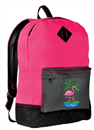 3c45449c1 Amazon.com: Cute Flamingo Backpack CLASSIC STYLE Pink Backpacks HI VIS For  Girls: Broad Bay Cotton