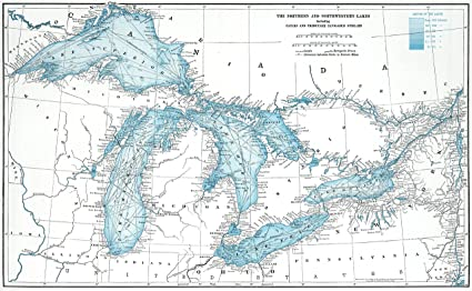 Great Lakes Map - Vintage Reprint: Amazon.ca: Home & Kitchen on