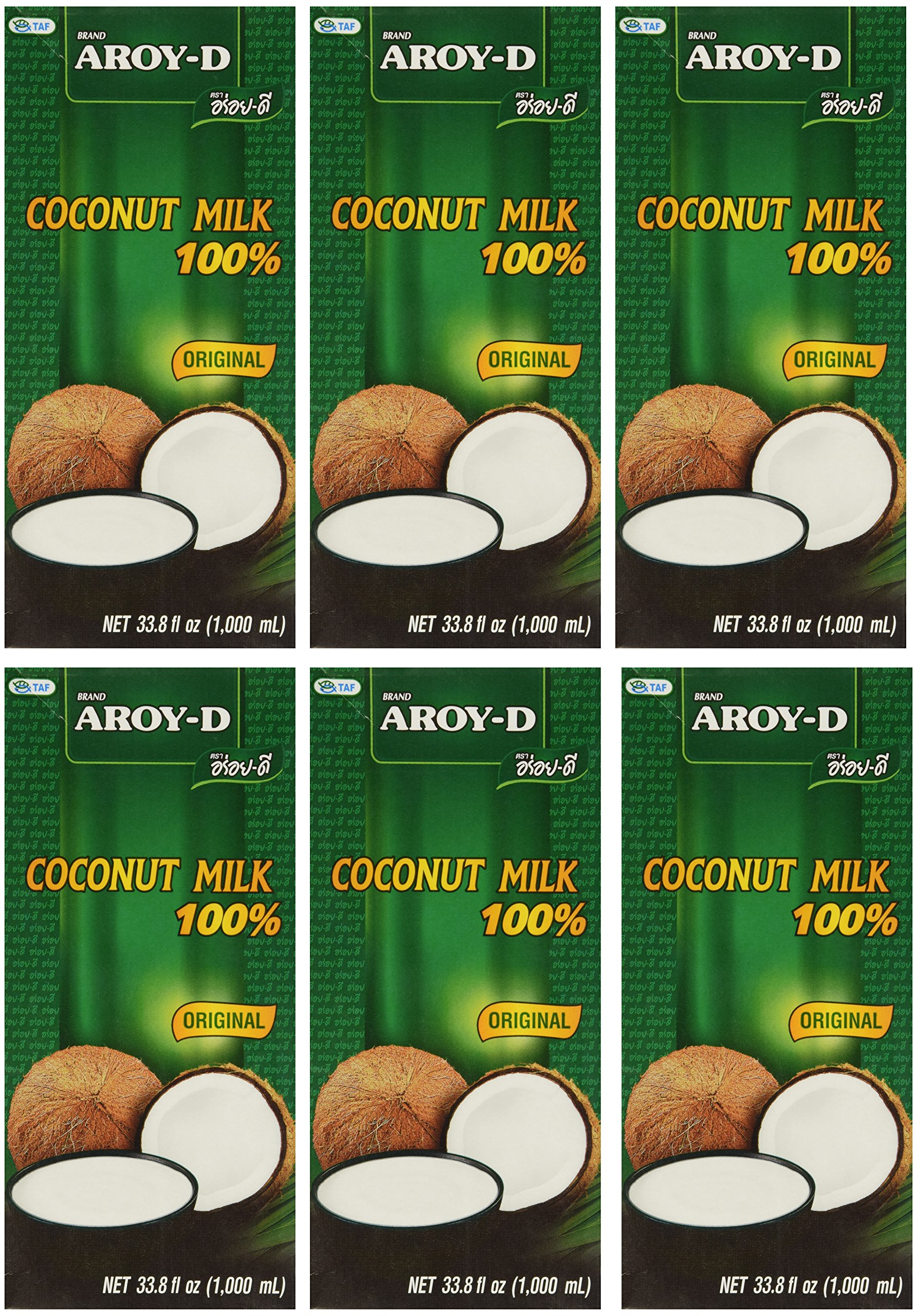 Aroy-D 100% Coconut Milk - 33.8 oz packages (6-pack)