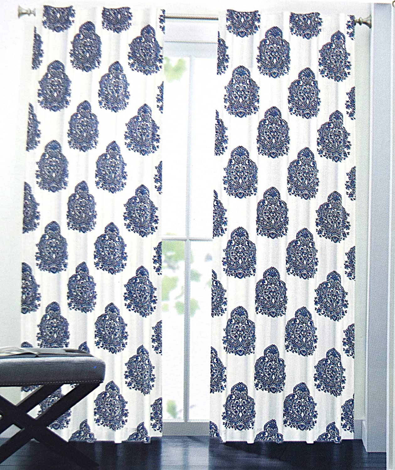 Nicole Miller Medallion Pair Of Curtains In Blue White Colors Print China Paisley 52 By 96 Inches 100 Cotton Set 2