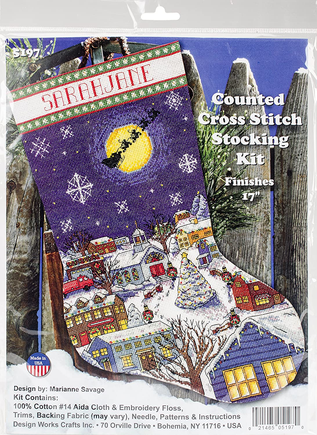 Christmas Eve Stocking Counted Cross Stitch Kit-17 Long 14 Count Tobin DW5197