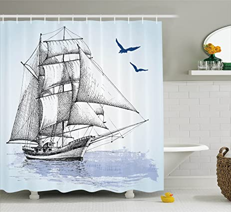 Nautical Shower Curtain By Ambesonne, Vector Sketch Sailboat On Sea With  Bird Retro Drawing Marine