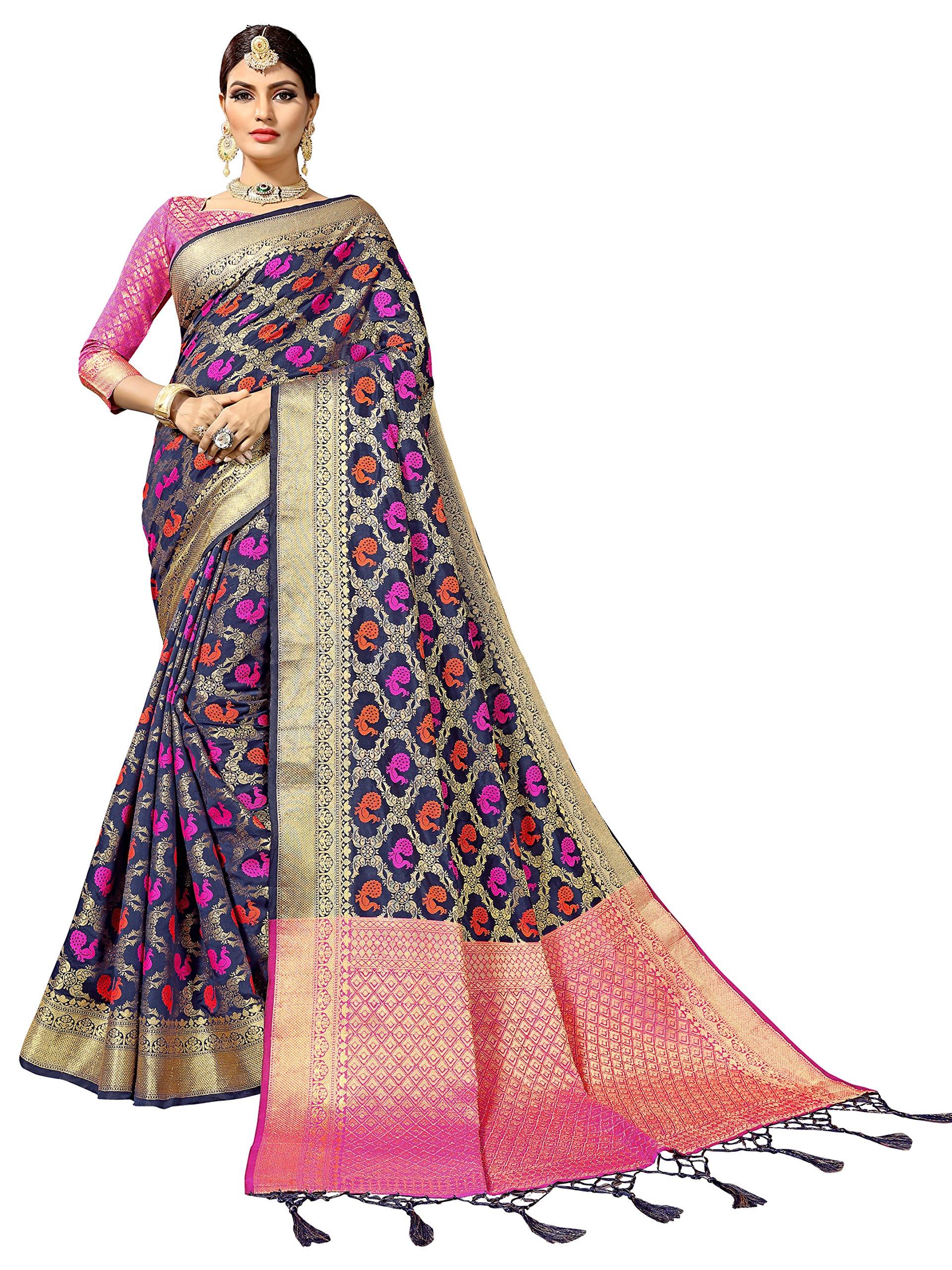 Women's Art Silk Woven Patola Indian Sari Wedding Self Design Saree (6837_Blue)