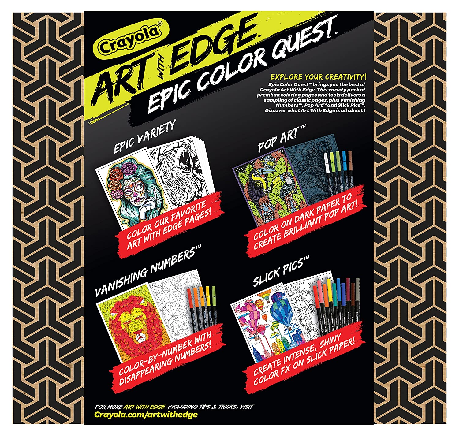 Amazon.com: Crayola Art with Edge, Coloring Set, Adult Coloring ...