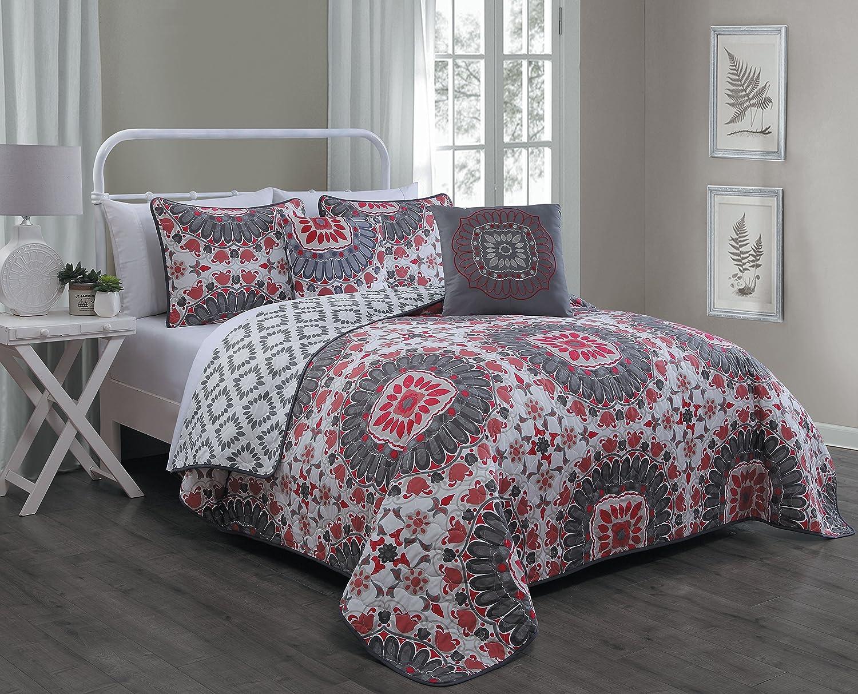 Avondale Manor Malta 5-piece Quilt Set Red Geneva Home Fashions MAL5QTQUENGHRD Queen