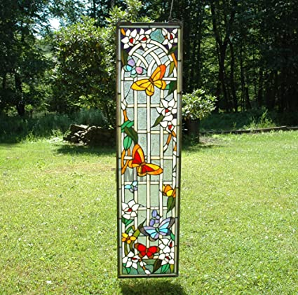 9u0026quot; X 36u0026quot; Tiffany Style Stained Glass Window Panel Flower  Butterfly Garden