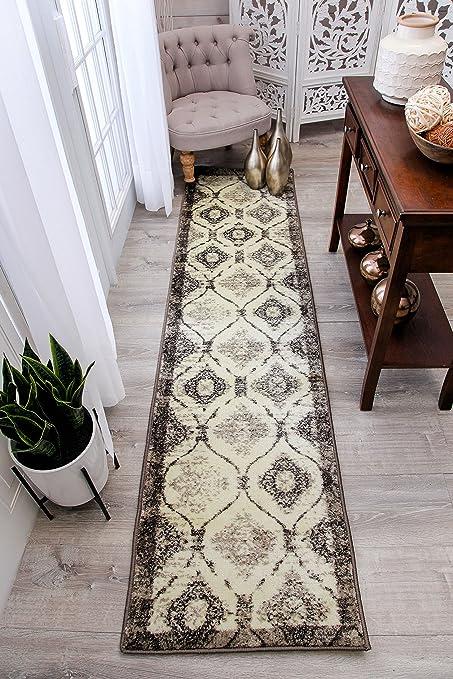 Modern Cream Rug 2x8 Hallway Runner Brown Black Ivory Rugs Kitchen Narrow  Runners 2x7 Contemporary Carpet