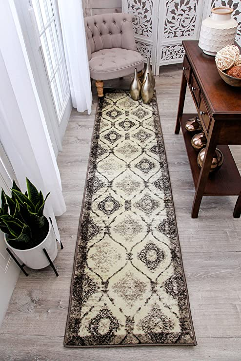 Modern Cream Rug 2x8 Hallway Runner Brown Black Ivory Rugs Kitchen Narrow  Runners 2x7 Contemporary Carpet For Hallways