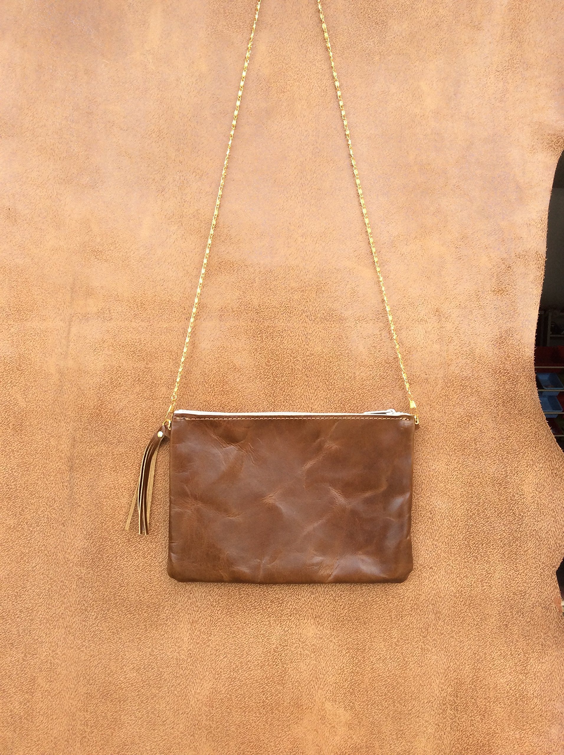 Handmade Genuine Leather Crossbody Bag, Leather Purse Bag, Leather Handbag for Women Made in USA Light Brown Leather M
