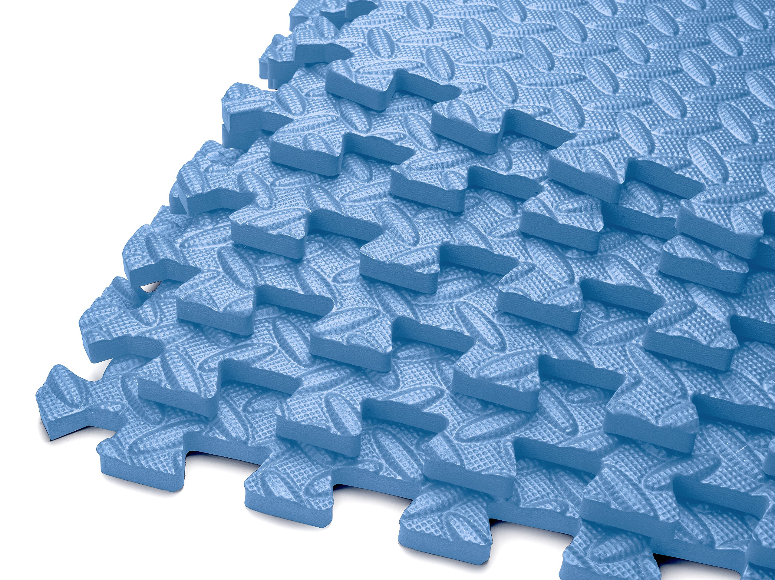 HemingWeigh Puzzle Exercise Mat EVA Foam Interlocking Tiles - Covers 144 Square Feet -Light Blue (Each Pack Contains 6 Tiles for a Total of 36 Tiles)