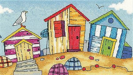 Heritage Crafts juego de punto de Cruz diseño de casetas de playa - Aida