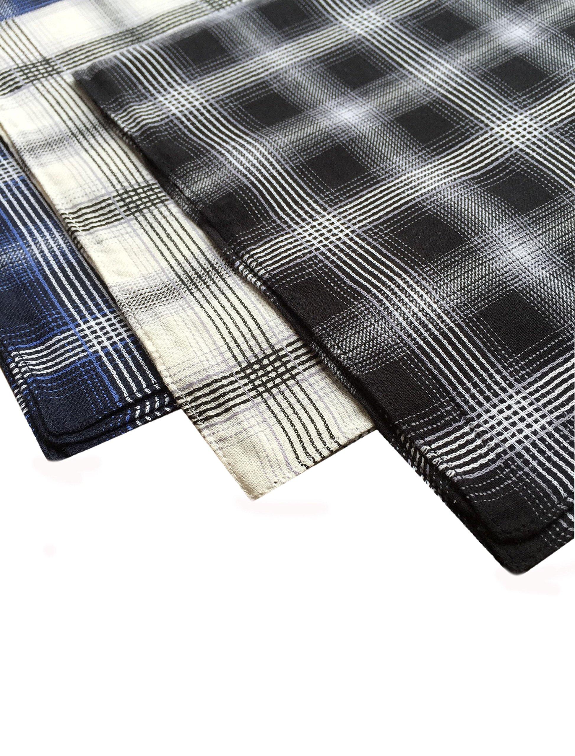 KINGDESON Men's Elegent Checkered Cotton Hankie Hankerchiefs gift set 3PCS by KINGDESON (Image #3)