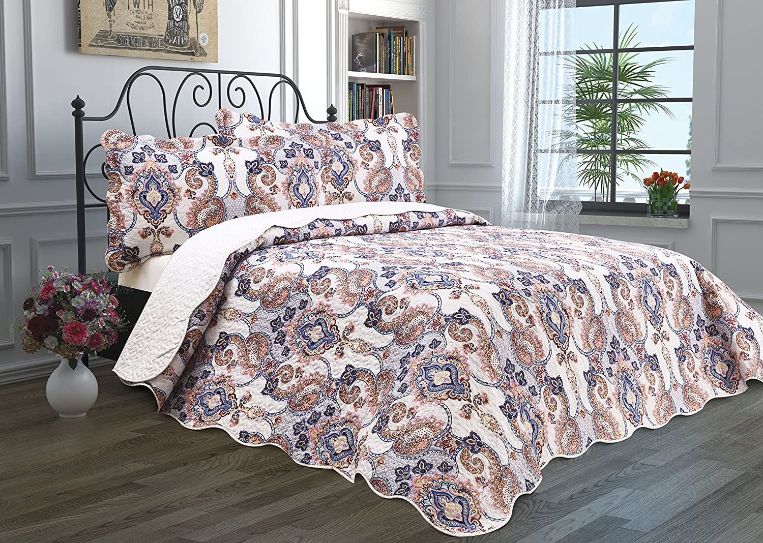 amazon com 3 piece quilt set with shams reversible bedspread