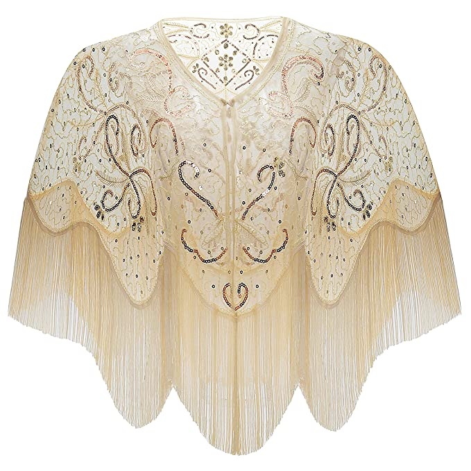 1920s Shawls, Wraps, Scarves, Fur Stoles BABEYOND 1920s Shawl Wraps Gatsby Beaded Evening Cape Bridal Shawl for Evening Dresses Wedding Party $23.99 AT vintagedancer.com
