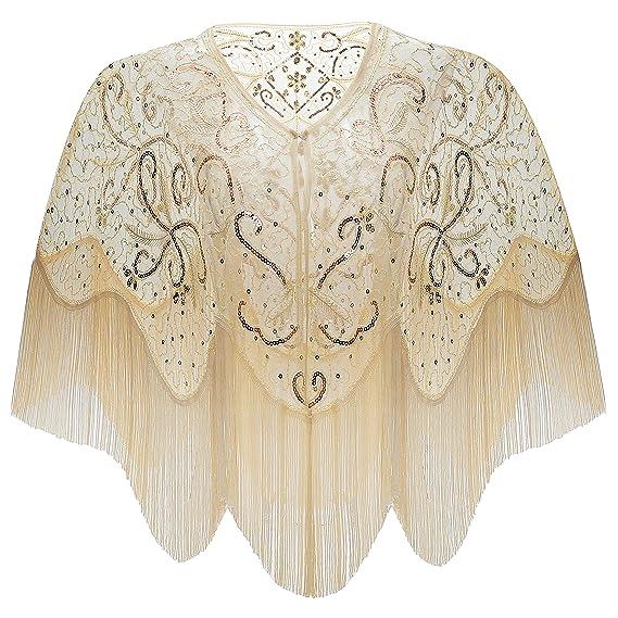bda8e8a7111585 ArtiDeco 1920s Retro Schal Damen Stola Umschlagtücher für Abendkleid  Hochzeit Party Braut Schal Gatsby Kostüm Accessoires