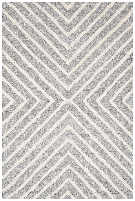 Safavieh Prita handgetufteter Teppich, CAM129D, Silber   Elfenbein, 121 X 182  cm