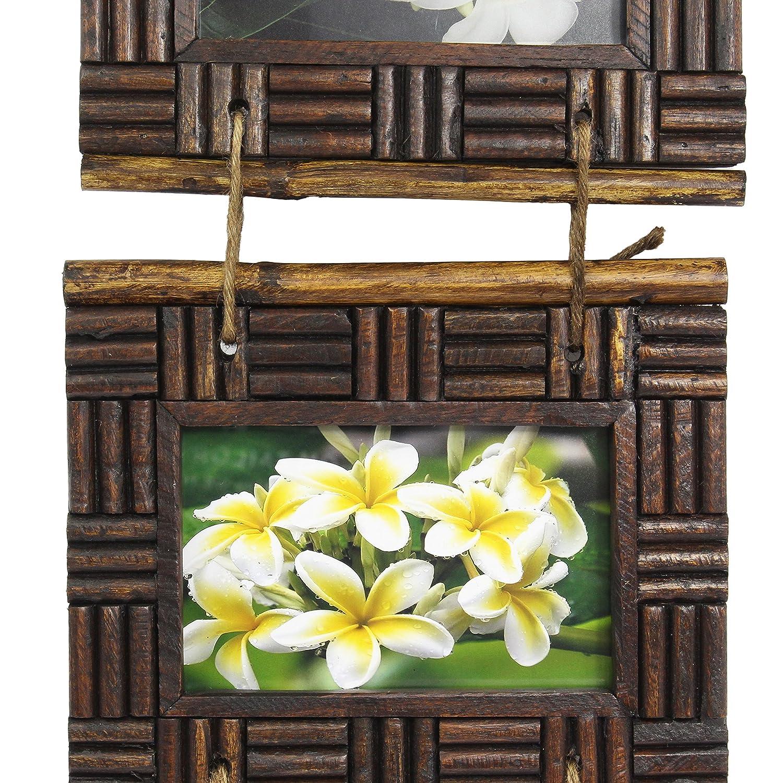 Amazon.de: Rustikaler Hängerahmen 3er Set aus Holz für Fotos in ...