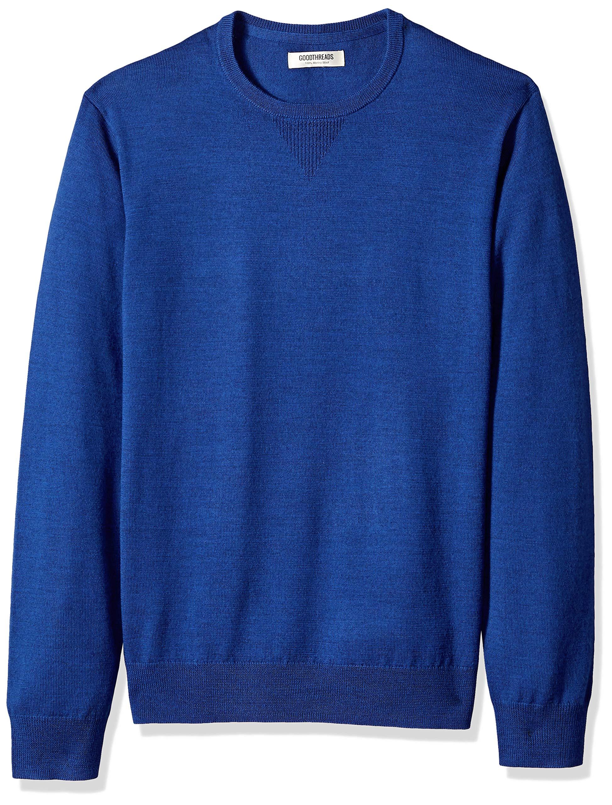 Goodthreads Men's Merino Wool Crewneck Sweater, Bright Blue, Large