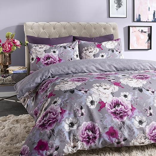 Sleepdown Inky Floral Grey Juego de Funda de edredón tamaño King ...