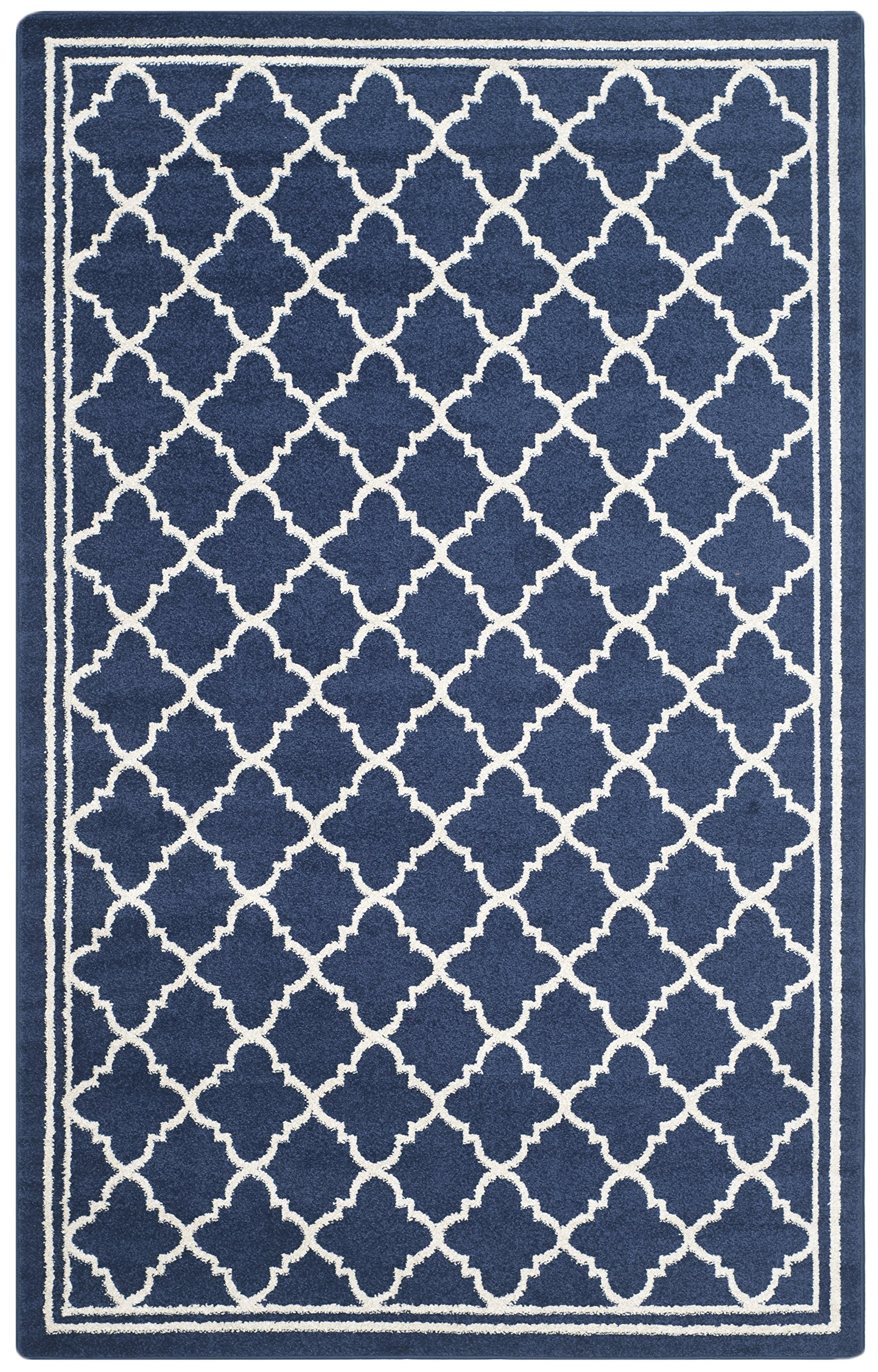 Safavieh Amherst Collection AMT422P Navy and Beige Indoor/ Outdoor Area Rug (6' x 9') - Stunning polypropylene fibers make this rug soft and luxurious to the touch The power loomed construction adds durability to this rug, ensuring it will be a favorite for many years The modern, geometric pattern of this rugs will give your room a fresh accent - living-room-soft-furnishings, living-room, area-rugs - A1oM%2BJbRGCL -