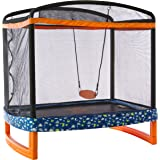 "Jump Power 72"" x 50"" Rectangle Indoor/Outdoor Trampoline & Safety Net Combo. A Great Gift for Toddlers & Kids!"
